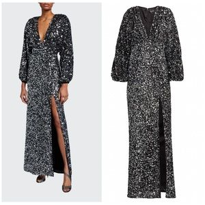 Retrofete   Camille Gathered Sequin Chiffon Gown